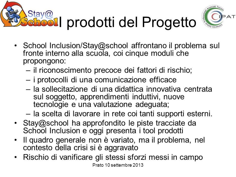Prato 10 settembre 2013 I prodotti del Progetto School Inclusion/Stay@school affrontano il problema sul fronte interno alla scuola, coi cinque moduli