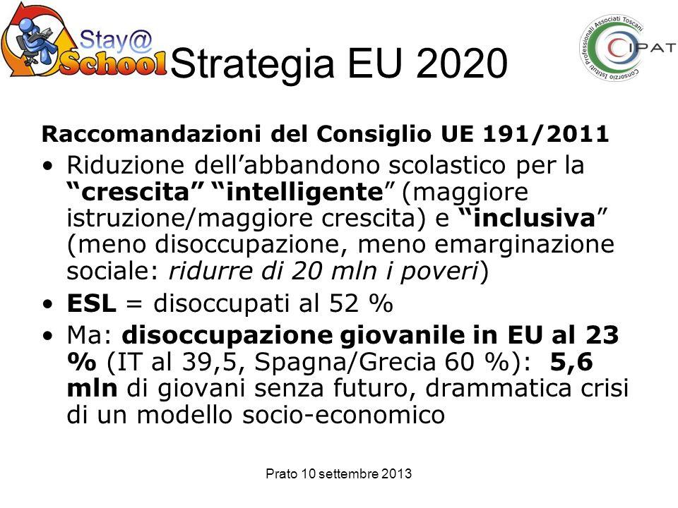 Prato 10 settembre 2013 Strategia EU 2020 Raccomandazioni del Consiglio UE 191/2011 Riduzione dellabbandono scolastico per la crescita intelligente (m