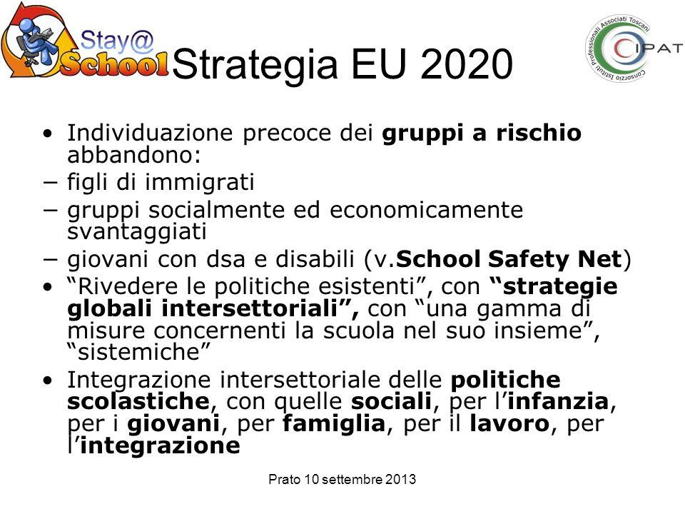 Prato 10 settembre 2013 Strategia EU 2020 Individuazione precoce dei gruppi a rischio abbandono: figli di immigrati gruppi socialmente ed economicamen