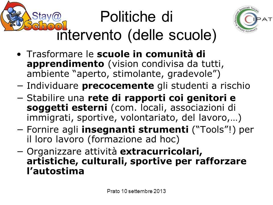 Prato 10 settembre 2013 Politiche di intervento (delle scuole) Trasformare le scuole in comunità di apprendimento (vision condivisa da tutti, ambiente