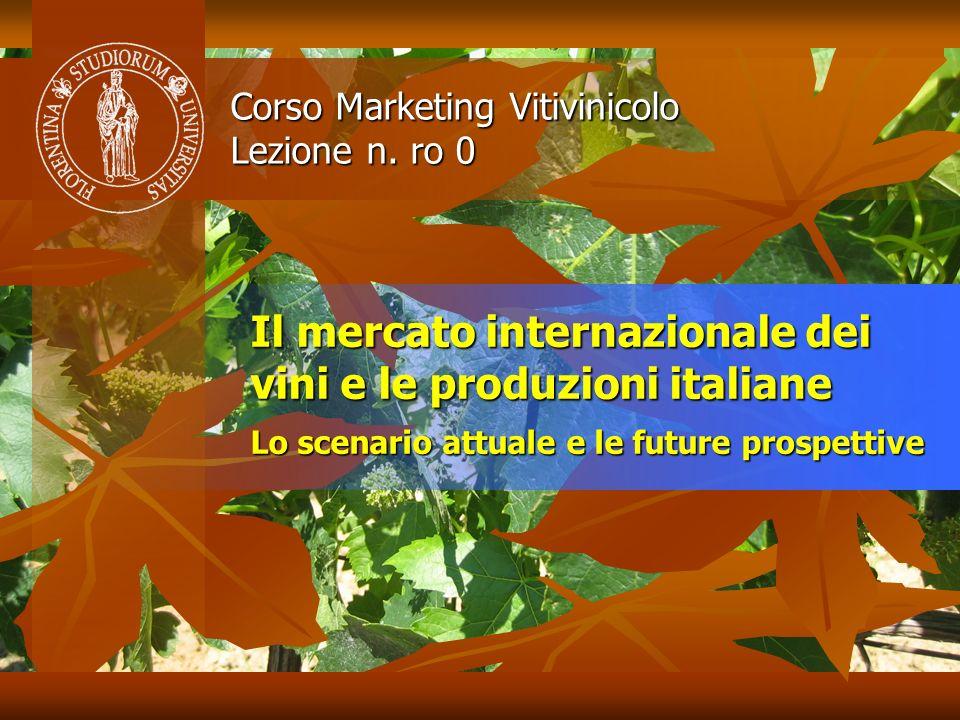 Il mercato internazionale dei vini e le produzioni italiane Lo scenario attuale e le future prospettive Corso Marketing Vitivinicolo Lezione n. ro 0