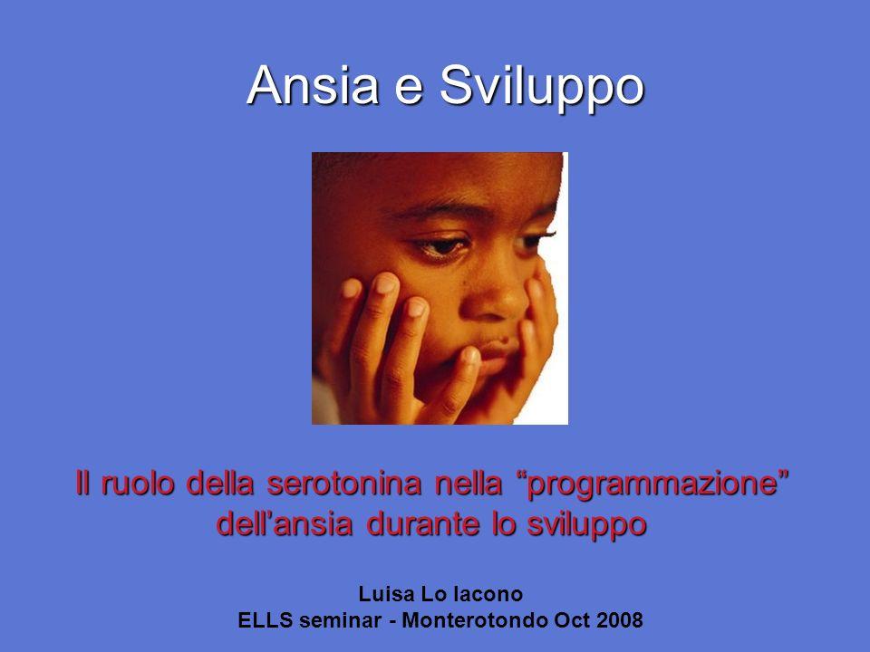 Ansia e Sviluppo Il ruolo della serotonina nella programmazione dellansia durante lo sviluppo Luisa Lo Iacono ELLS seminar - Monterotondo Oct 2008