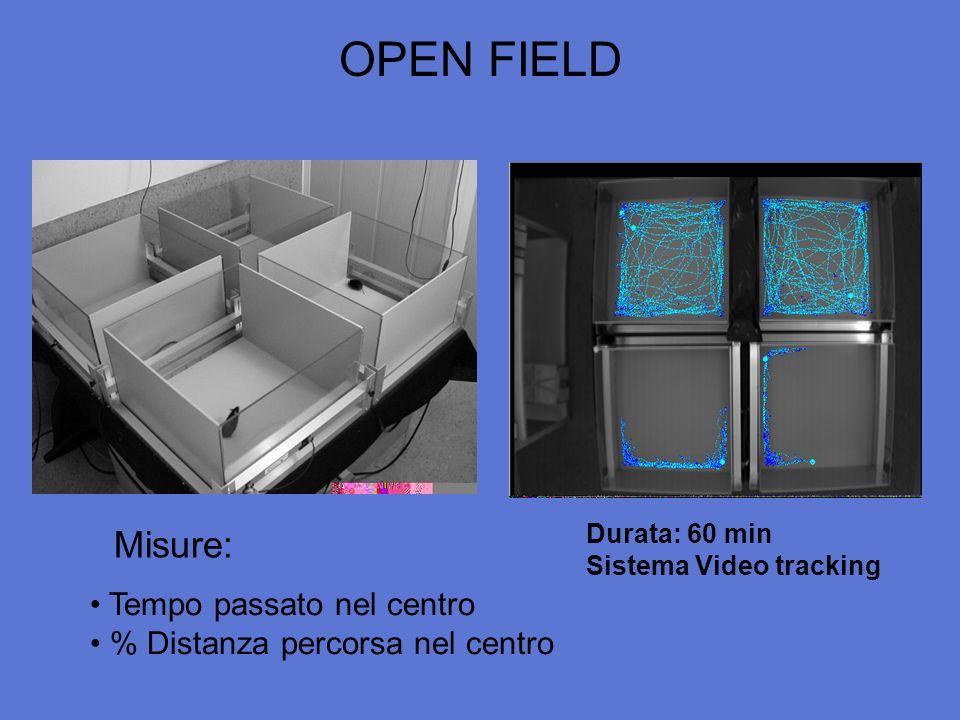 OPEN FIELD Durata: 60 min Sistema Video tracking Tempo passato nel centro % Distanza percorsa nel centro Misure: