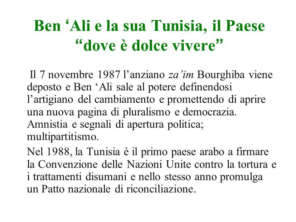 Ben Ali e la sua Tunisia, il Paesedove è dolce vivere Il 7 novembre 1987 lanziano zaim Bourghiba viene deposto e Ben Ali sale al potere definendosi lartigiano del cambiamento e promettendo di aprire una nuova pagina di pluralismo e democrazia.