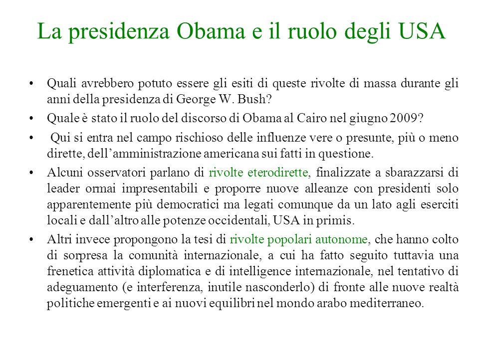 La presidenza Obama e il ruolo degli USA Quali avrebbero potuto essere gli esiti di queste rivolte di massa durante gli anni della presidenza di George W.