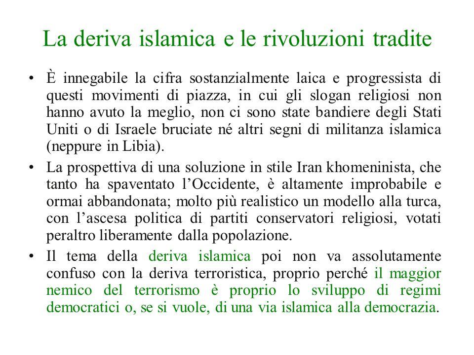 La deriva islamica e le rivoluzioni tradite È innegabile la cifra sostanzialmente laica e progressista di questi movimenti di piazza, in cui gli slogan religiosi non hanno avuto la meglio, non ci sono state bandiere degli Stati Uniti o di Israele bruciate né altri segni di militanza islamica (neppure in Libia).