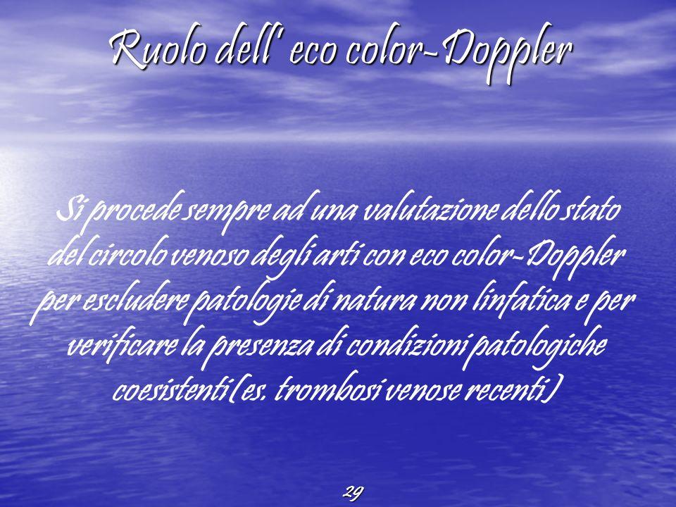 29 Ruolo dell eco color-Doppler Si procede sempre ad una valutazione dello stato del circolo venoso degli arti con eco color-Doppler per escludere pat