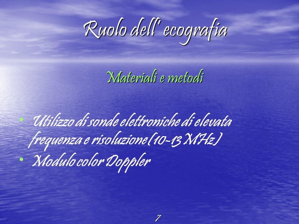 7 Ruolo dell ecografia Materiali e metodi Materiali e metodi Utilizzo di sonde elettroniche di elevata frequenza e risoluzione(10-13MHz) Modulo color