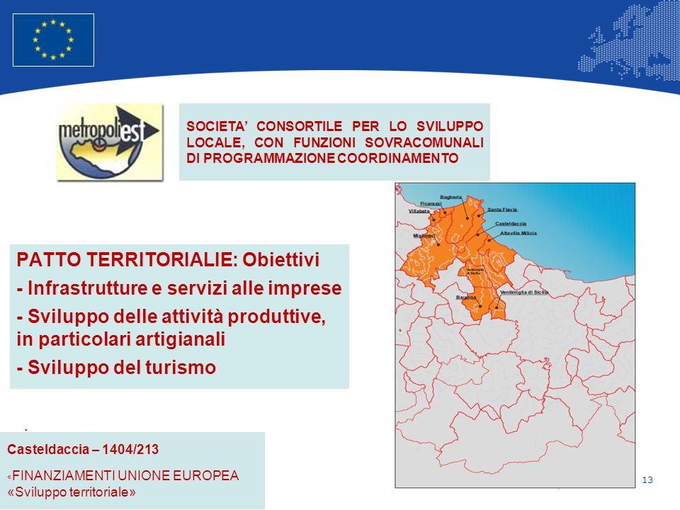 13 Unione Europea Politica regionale – Occupazione, affari sociali e inclusione PATTO TERRITORIALIE: Obiettivi - Infrastrutture e servizi alle imprese - Sviluppo delle attività produttive, in particolari artigianali - Sviluppo del turismo.
