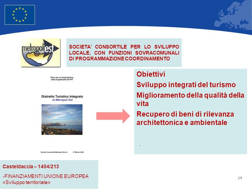 14 Unione Europea Politica regionale – Occupazione, affari sociali e inclusione Obiettivi Sviluppo integrati del turismo Miglioramento della qualità della vita Recupero di beni di rilevanza architettonica e ambientale.
