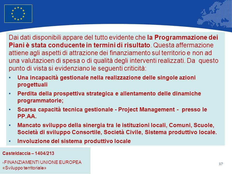17 Unione Europea Politica regionale – Occupazione, affari sociali e inclusione Dai dati disponibili appare del tutto evidente che la Programmazione dei Piani è stata conducente in termini di risultato.