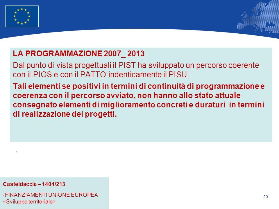 20 Unione Europea Politica regionale – Occupazione, affari sociali e inclusione LA PROGRAMMAZIONE 2007_ 2013 Dal punto di vista progettuali il PIST ha sviluppato un percorso coerente con il PIOS e con il PATTO indenticamente il PISU.