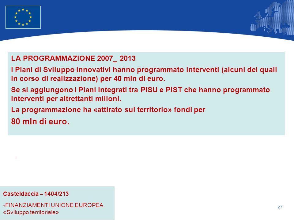 27 Unione Europea Politica regionale – Occupazione, affari sociali e inclusione LA PROGRAMMAZIONE 2007_ 2013 I Piani di Sviluppo innovativi hanno programmato interventi (alcuni dei quali in corso di realizzazione) per 40 mln di euro.