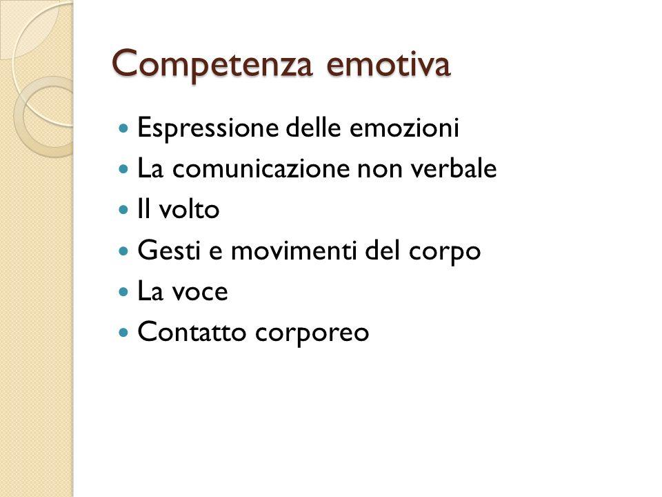 Competenza emotiva Espressione delle emozioni La comunicazione non verbale Il volto Gesti e movimenti del corpo La voce Contatto corporeo