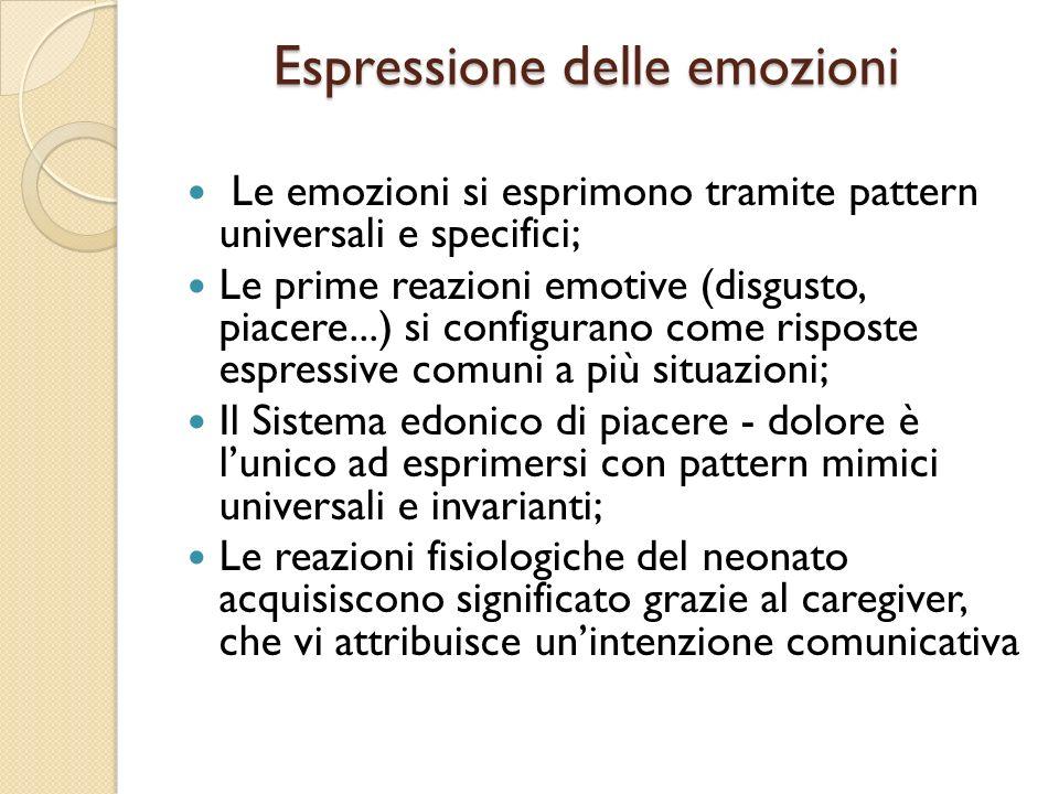 Espressione delle emozioni Espressione delle emozioni Le emozioni si esprimono tramite pattern universali e specifici; Le prime reazioni emotive (disg