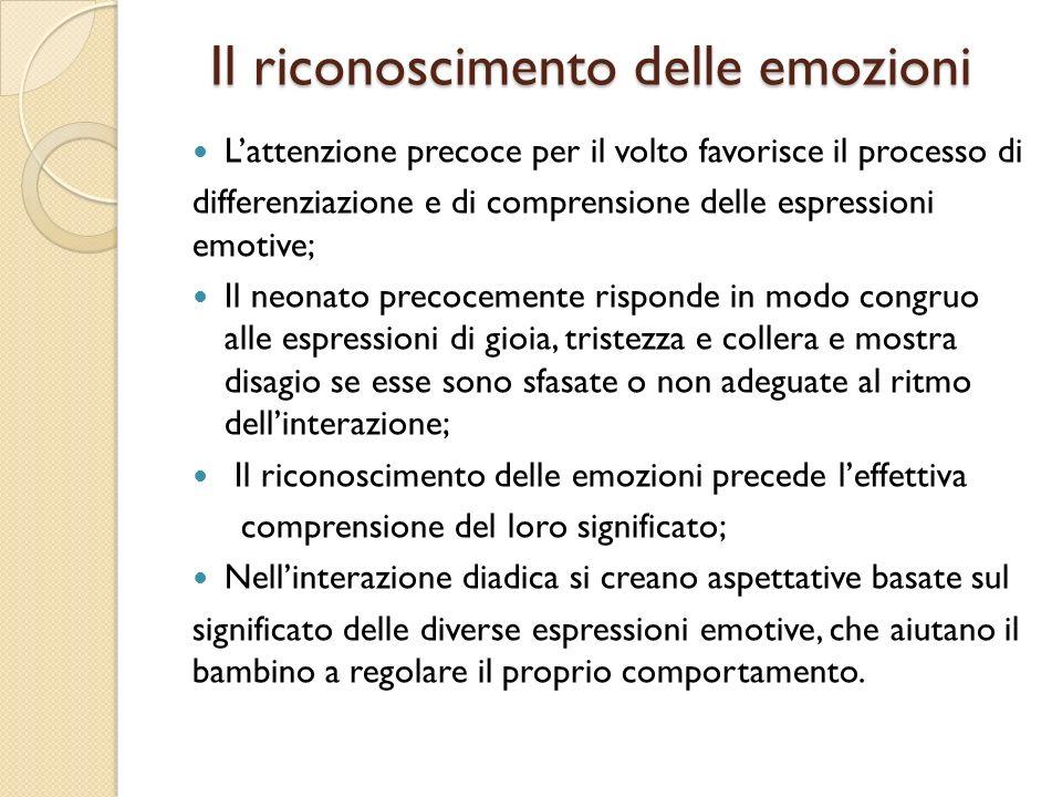 Il riconoscimento delle emozioni Il riconoscimento delle emozioni Lattenzione precoce per il volto favorisce il processo di differenziazione e di comp
