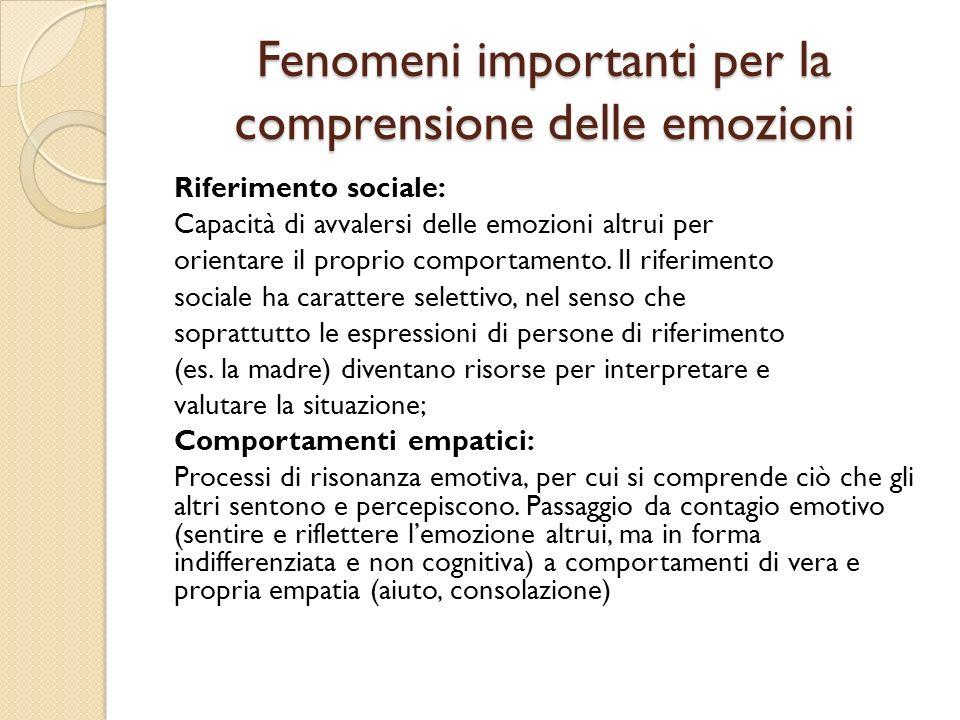 Fenomeni importanti per la comprensione delle emozioni Riferimento sociale: Capacità di avvalersi delle emozioni altrui per orientare il proprio compo