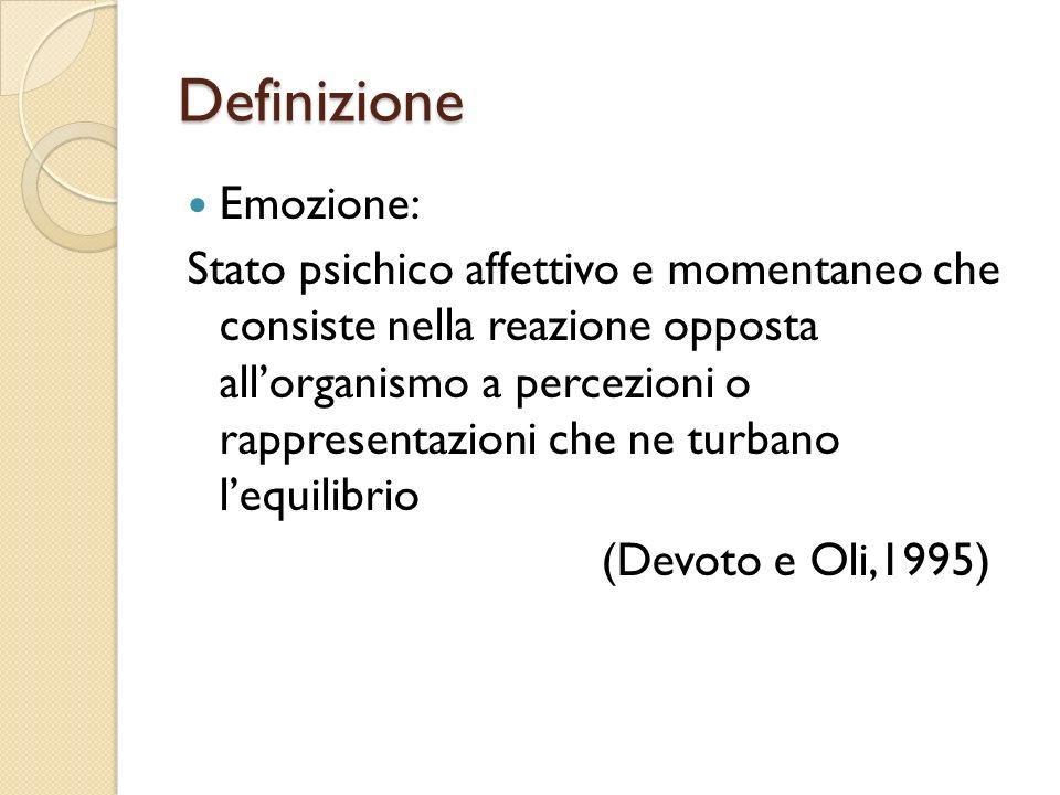 Definizione Emozione: Stato psichico affettivo e momentaneo che consiste nella reazione opposta allorganismo a percezioni o rappresentazioni che ne tu