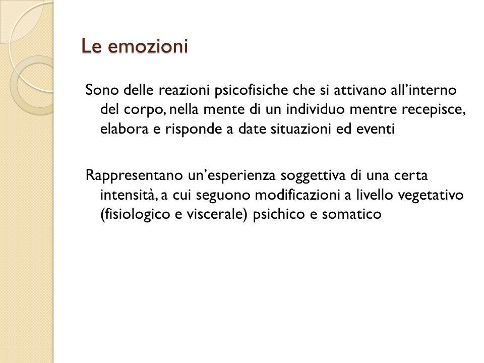 Le emozioni Sono delle reazioni psicofisiche che si attivano allinterno del corpo, nella mente di un individuo mentre recepisce, elabora e risponde a