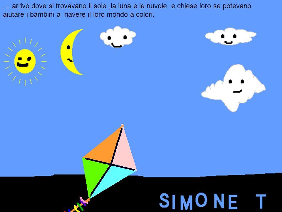 … arrivò dove si trovavano il sole,la luna e le nuvole e chiese loro se potevano aiutare i bambini a riavere il loro mondo a colori.