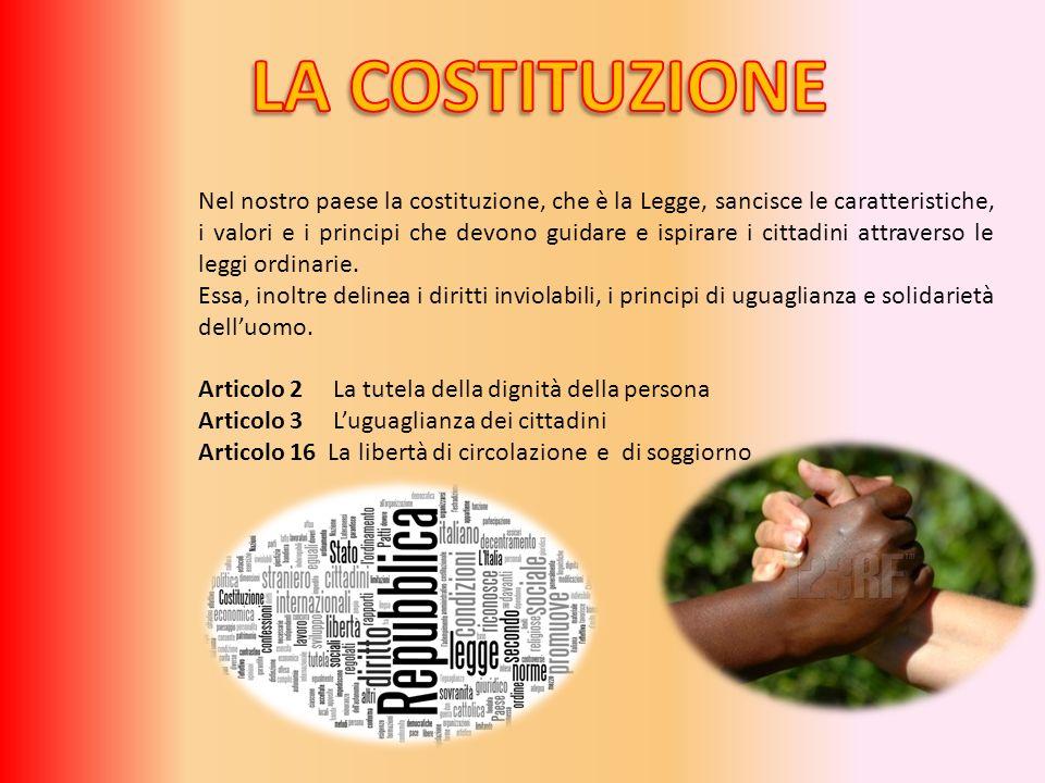 Nel nostro paese la costituzione, che è la Legge, sancisce le caratteristiche, i valori e i principi che devono guidare e ispirare i cittadini attraverso le leggi ordinarie.