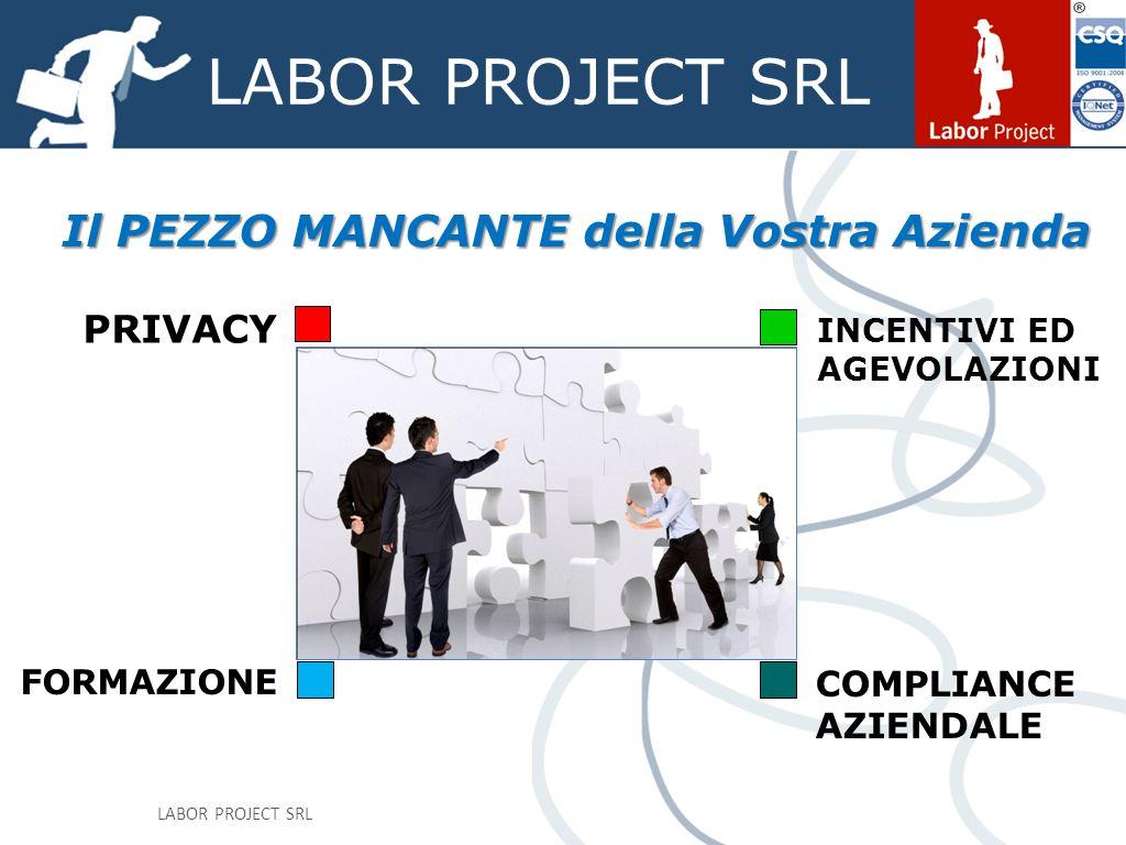 LABOR PROJECT SRL Il PEZZO MANCANTE della Vostra Azienda PRIVACY INCENTIVI ED AGEVOLAZIONI FORMAZIONE COMPLIANCE AZIENDALE