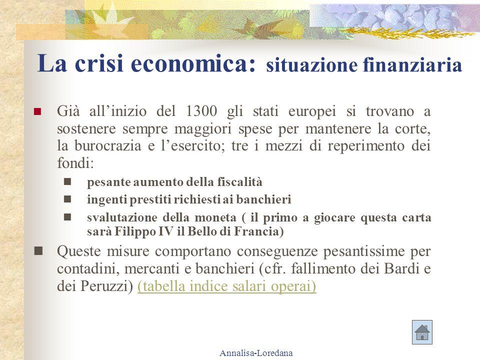 Annalisa-Loredana La crisi economica: situazione finanziaria Già allinizio del 1300 gli stati europei si trovano a sostenere sempre maggiori spese per