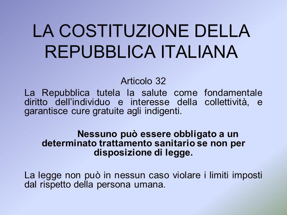 LA COSTITUZIONE DELLA REPUBBLICA ITALIANA Articolo 32 La Repubblica tutela la salute come fondamentale diritto dellindividuo e interesse della collett