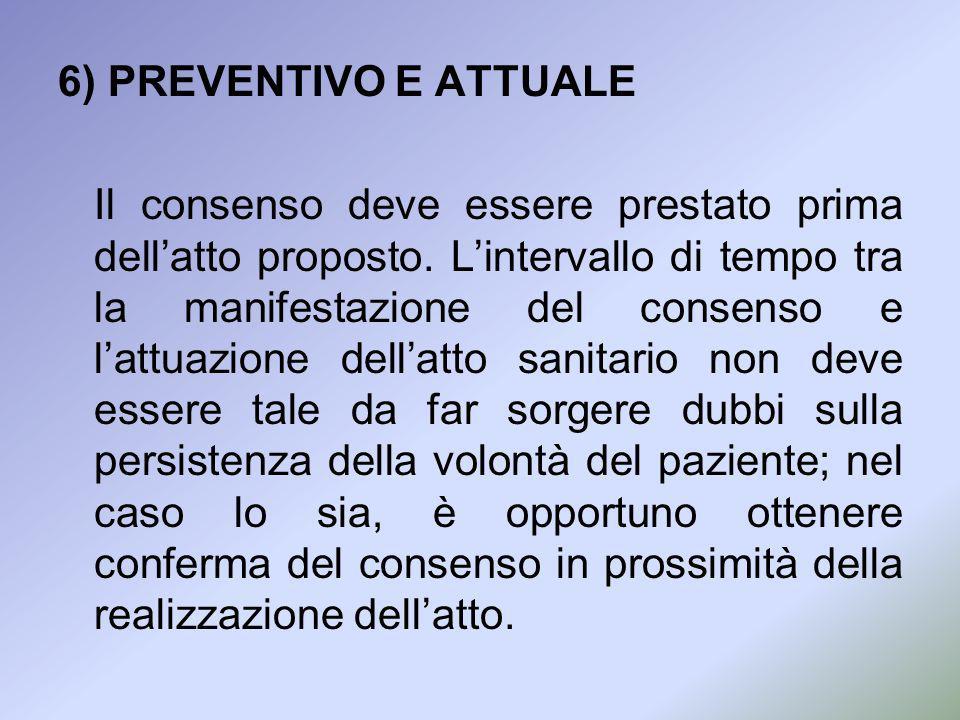 6) PREVENTIVO E ATTUALE Il consenso deve essere prestato prima dellatto proposto. Lintervallo di tempo tra la manifestazione del consenso e lattuazion