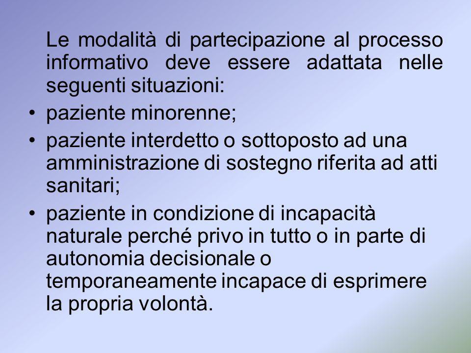 Le modalità di partecipazione al processo informativo deve essere adattata nelle seguenti situazioni: paziente minorenne; paziente interdetto o sottop