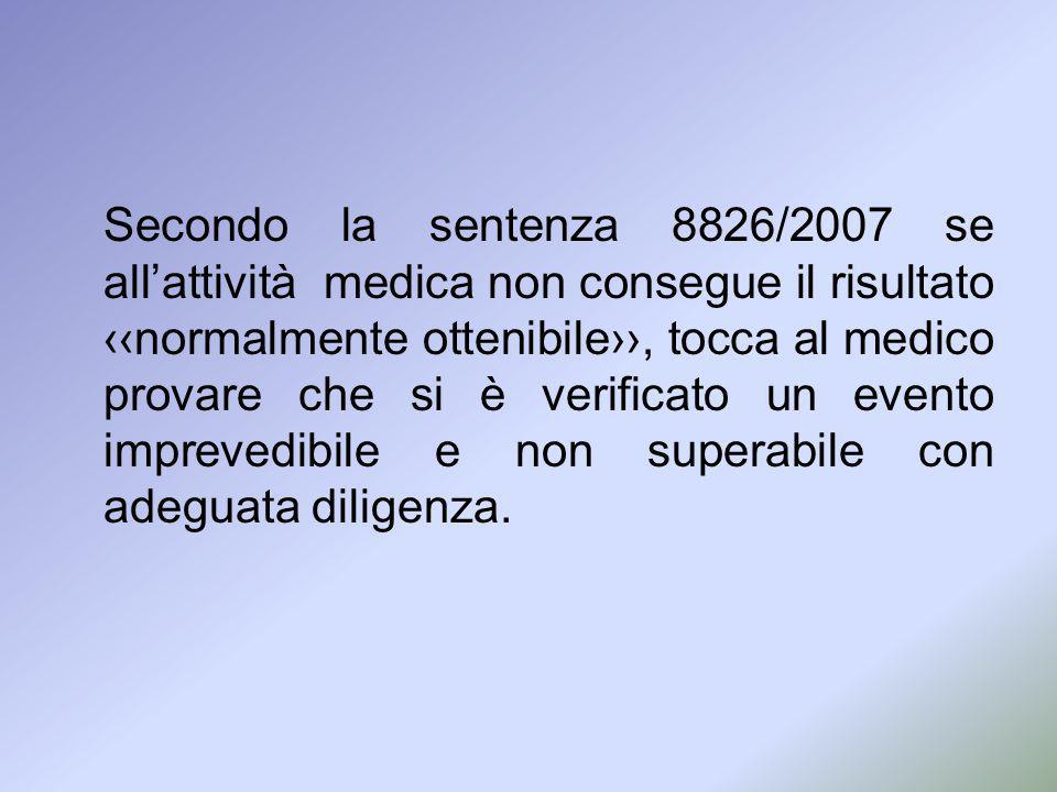 Secondo la sentenza 8826/2007 se allattività medica non consegue il risultatonormalmente ottenibile, tocca al medico provare che si è verificato un ev