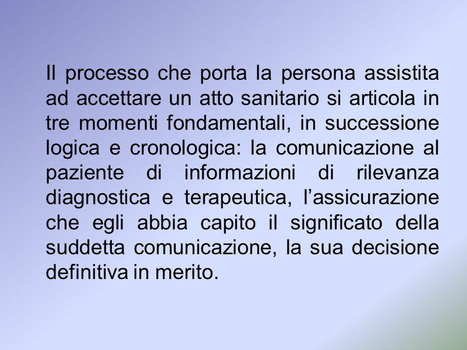 Il processo che porta la persona assistita ad accettare un atto sanitario si articola in tre momenti fondamentali, in successione logica e cronologica