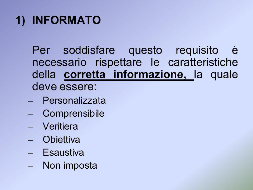 1)INFORMATO Per soddisfare questo requisito è necessario rispettare le caratteristiche della corretta informazione, la quale deve essere: –Personalizz