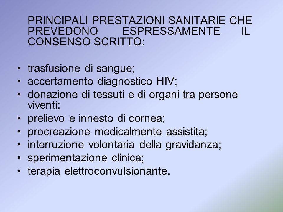 PRINCIPALI PRESTAZIONI SANITARIE CHE PREVEDONO ESPRESSAMENTE IL CONSENSO SCRITTO: trasfusione di sangue; accertamento diagnostico HIV; donazione di te