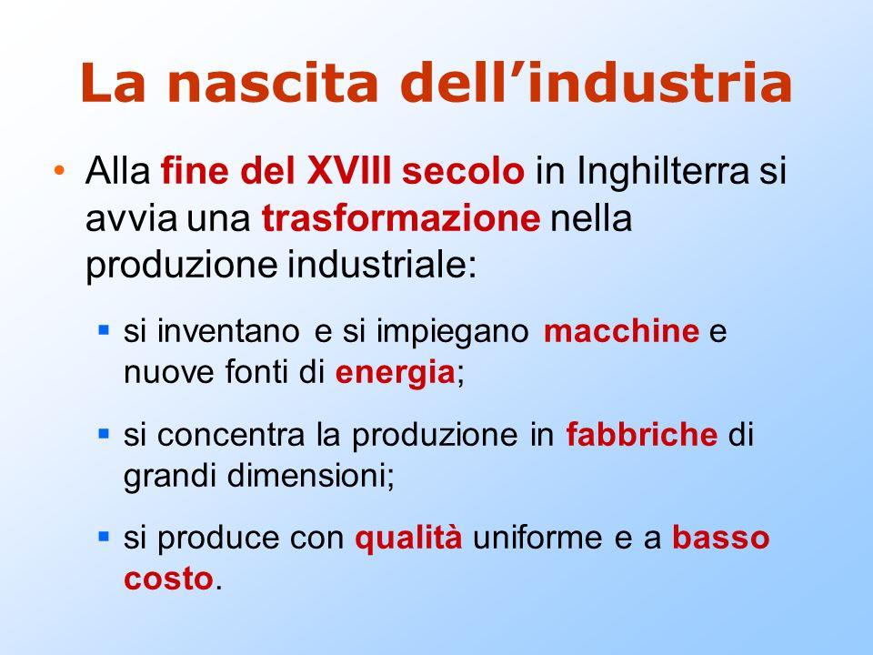 La nascita dellindustria Alla fine del XVIII secolo in Inghilterra si avvia una trasformazione nella produzione industriale: si inventano e si impiega