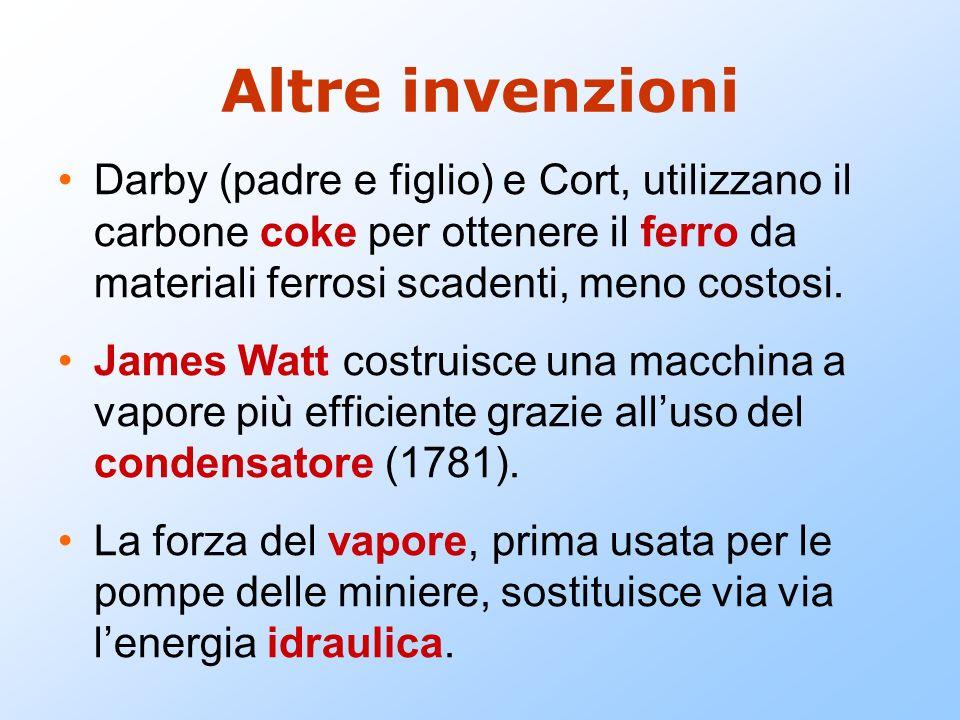 Altre invenzioni Darby (padre e figlio) e Cort, utilizzano il carbone coke per ottenere il ferro da materiali ferrosi scadenti, meno costosi. James Wa