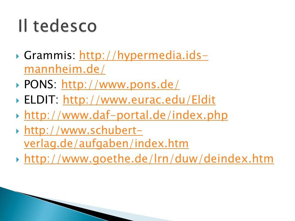 Grammis: http://hypermedia.ids- mannheim.de/ http://hypermedia.ids- mannheim.de/ PONS: http://www.pons.de/http://www.pons.de/ ELDIT: http://www.eurac.