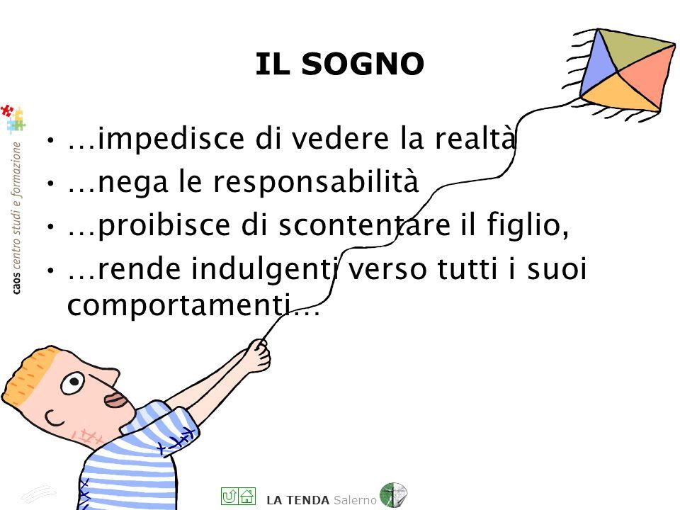LA TENDA Salerno …impedisce di vedere la realtà …nega le responsabilità …proibisce di scontentare il figlio, …rende indulgenti verso tutti i suoi comportamenti… IL SOGNO