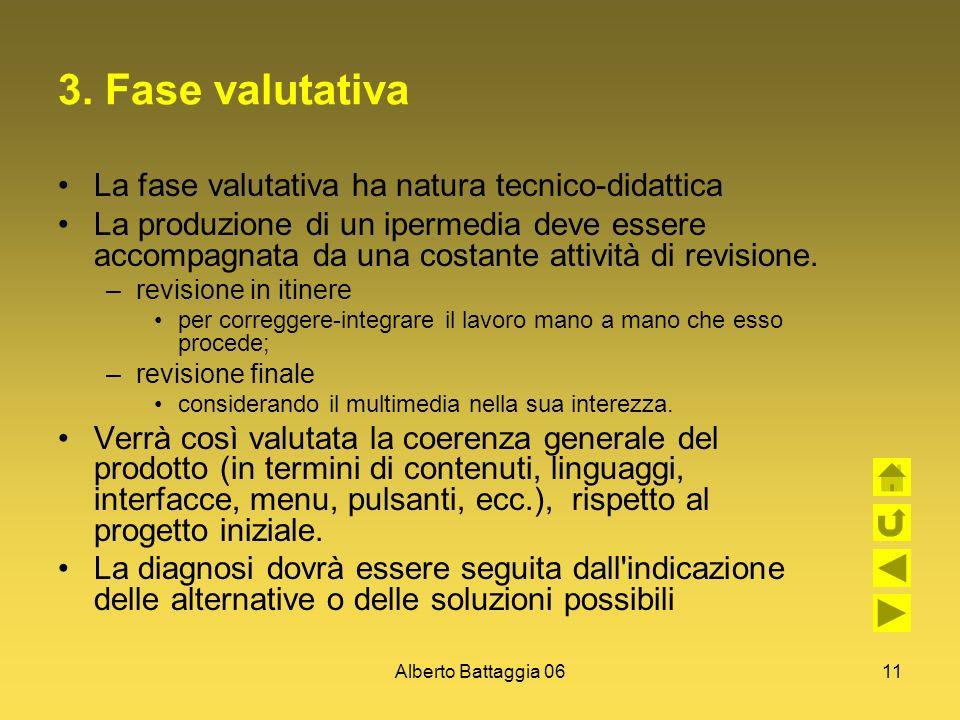 Alberto Battaggia 0611 3. Fase valutativa La fase valutativa ha natura tecnico-didattica La produzione di un ipermedia deve essere accompagnata da una