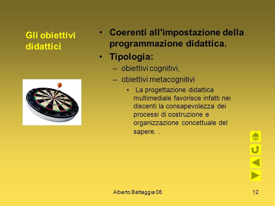 Alberto Battaggia 0612 Gli obiettivi didattici Coerenti all'impostazione della programmazione didattica. Tipologia: –obiettivi cognitivi, –obiettivi m