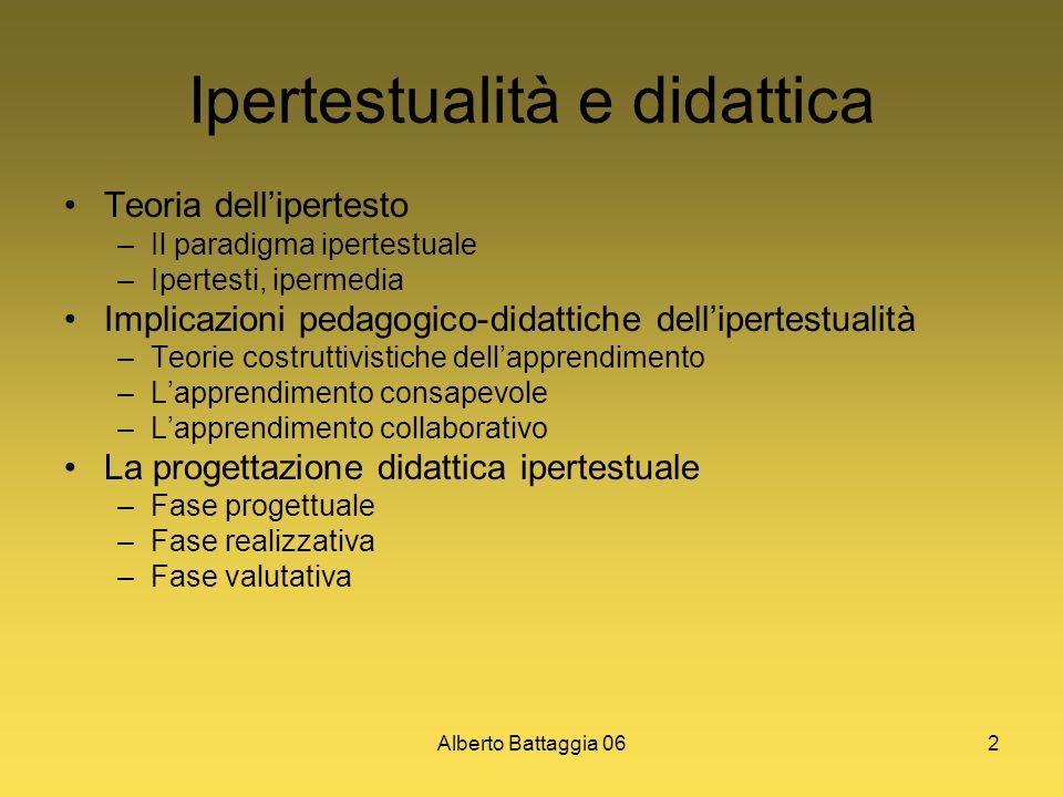 Alberto Battaggia 062 Ipertestualità e didattica Teoria dellipertesto –Il paradigma ipertestuale –Ipertesti, ipermedia Implicazioni pedagogico-didatti