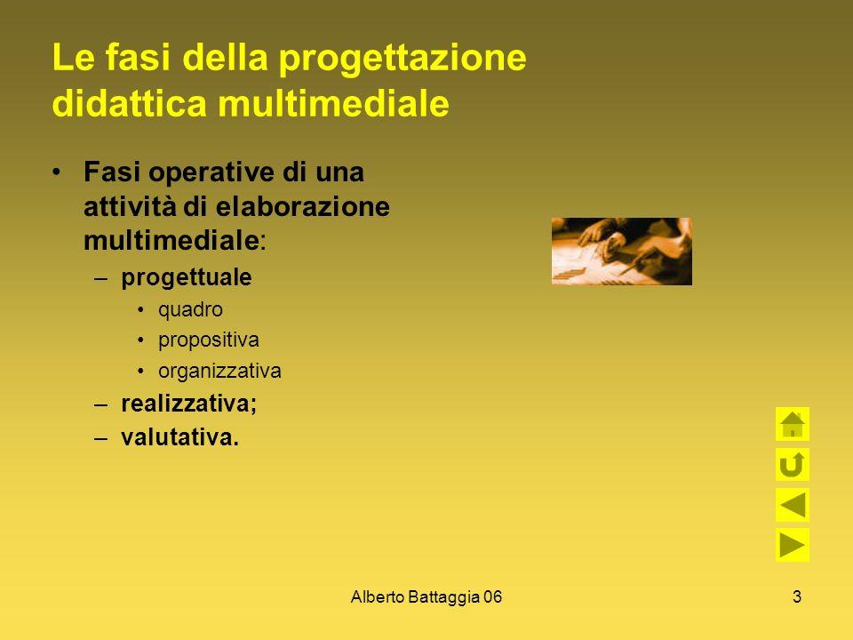 Alberto Battaggia 063 Le fasi della progettazione didattica multimediale Fasi operative di una attività di elaborazione multimediale: –progettuale qua