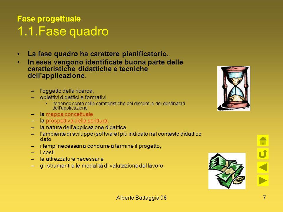 Alberto Battaggia 067 Fase progettuale 1.1.Fase quadro La fase quadro ha carattere pianificatorio. In essa vengono identificate buona parte delle cara