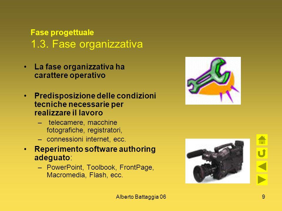 Alberto Battaggia 069 Fase progettuale 1.3. Fase organizzativa La fase organizzativa ha carattere operativo Predisposizione delle condizioni tecniche