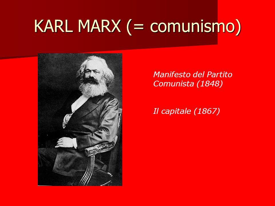 KARL MARX (= comunismo) Manifesto del Partito Comunista (1848) Il capitale (1867)