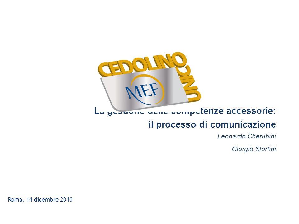 Roma, 14 dicembre 2010 La gestione delle competenze accessorie: il processo di comunicazione Leonardo Cherubini Giorgio Stortini