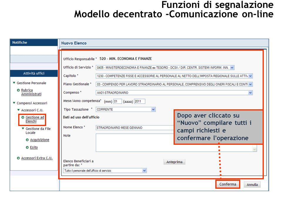 Dopo aver cliccato suNuovo compilare tutti i campi richiesti e confermare loperazione Funzioni di segnalazione Modello decentrato -Comunicazione on-line