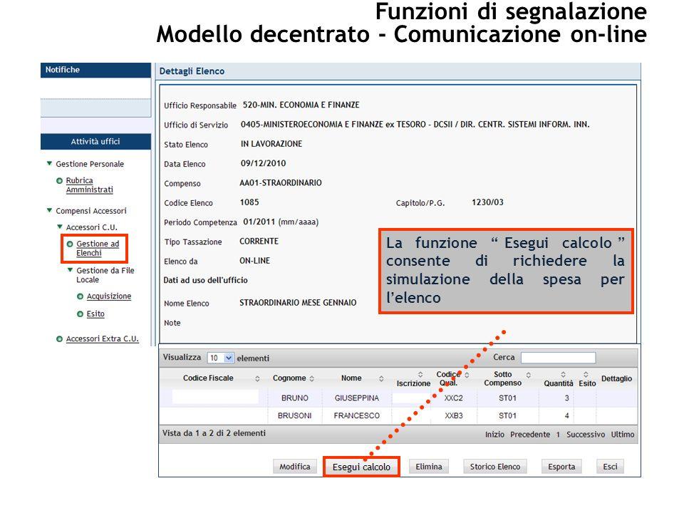 La funzione Esegui calcolo consente di richiedere la simulazione della spesa per lelenco Funzioni di segnalazione Modello decentrato - Comunicazione on-line