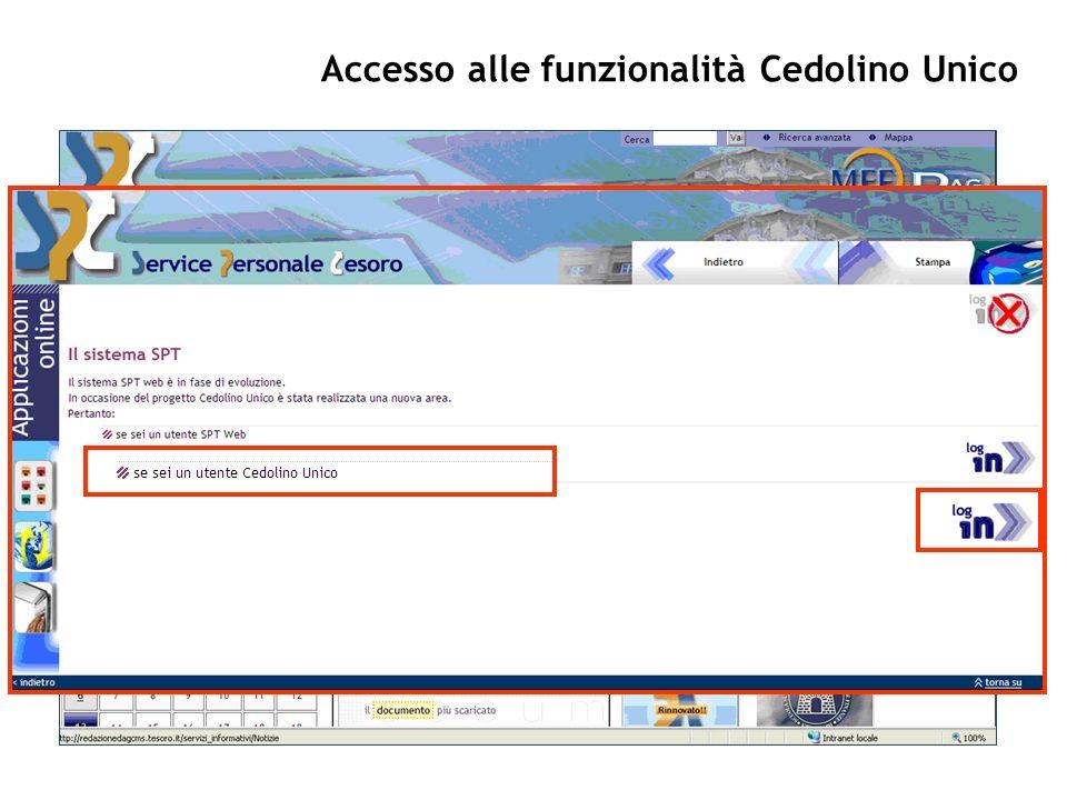 Accesso alle funzionalità Cedolino Unico