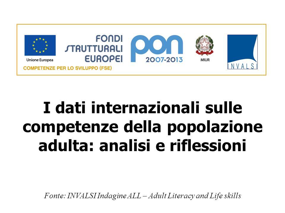 I dati internazionali sulle competenze della popolazione adulta: analisi e riflessioni Fonte: INVALSI Indagine ALL – Adult Literacy and Life skills